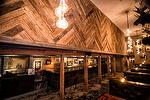 Mixed Hardwood Blocks Weathered Lumber Paneling / NatureAged Barnwood Countertops & Flooring (lightly sanded) - Salt Lake City Pub and Restaurant