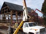 Martin Barn Dismantle Process / The man-lift and boom truck during disassembly