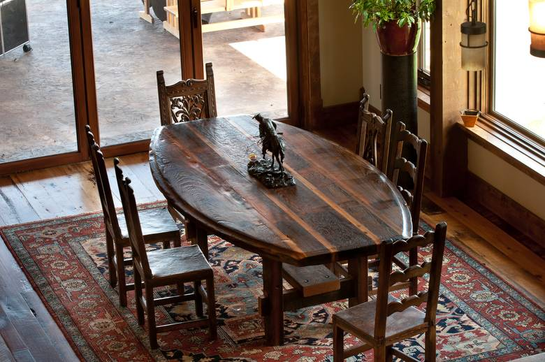 Trailblazer Mixed-Hardwood Skipped Flooring; Table is also from Trestlewood material (Picklewood)