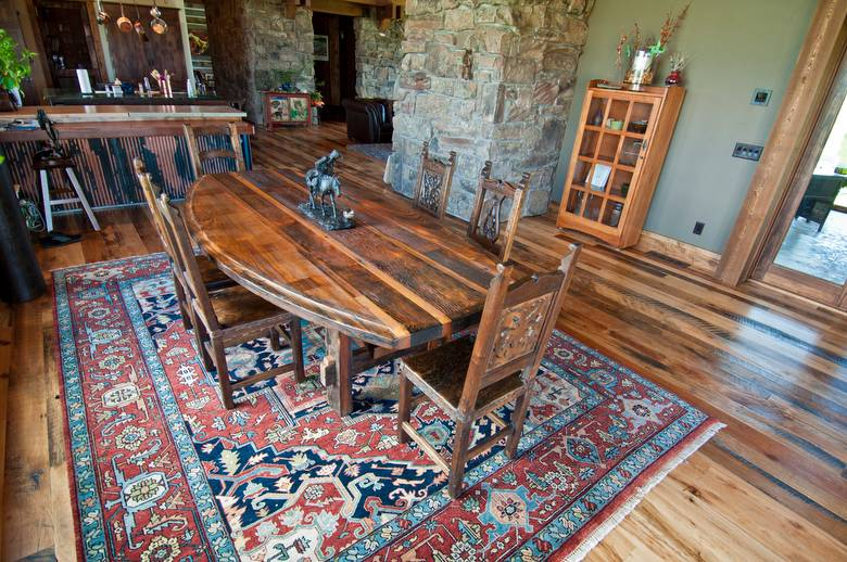 Trailblazer Mixed-Hardwood Skipped Flooring; Table made from Trestlewood's picklewood product