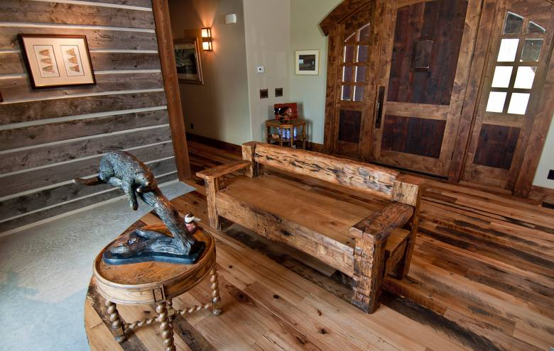 Trailblazer Mixed-Hardwood Skipped Flooring; Bench made from hewn timbers and sleeper middles