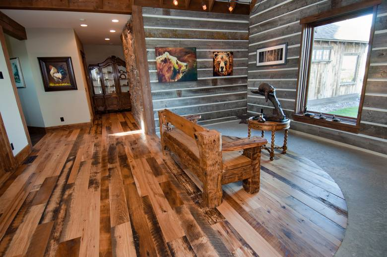 Trailblazer Mixed-Hardwood Skipped Flooring; Bench made from hewn timbers and sleeper middles.
