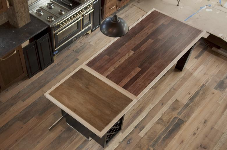 Skip-Planed Trailblazer and Greenheart Countertop