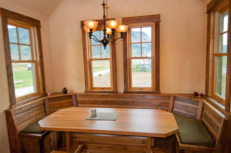 Picklewood DF Table and Barnwood Window Seat
