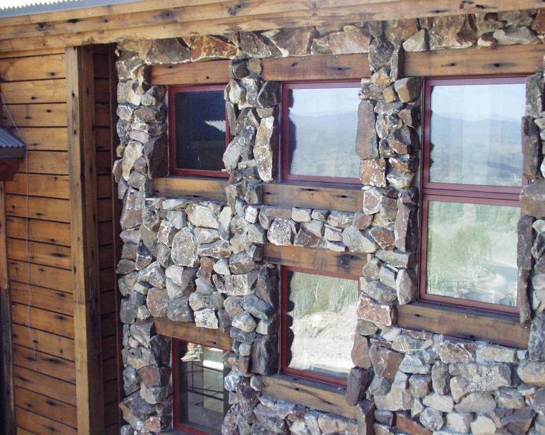 Rock Work looks good with Redwood / Rustic Redwood Siding
