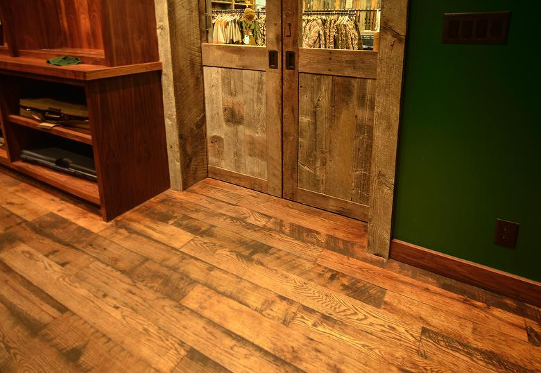 4.5 inch Wide 2-4' Lengths - Antique Oak Skip-Planed T&G Flooring from Ruby Pipeline Block Timbers