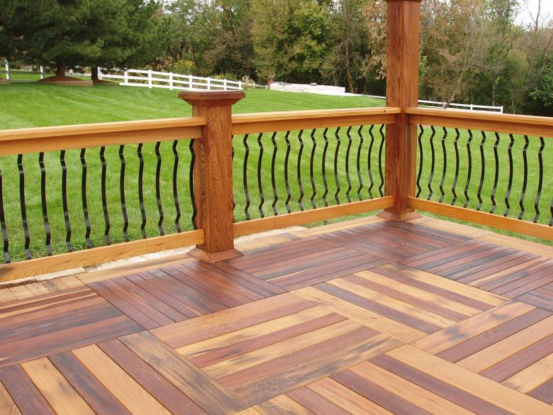 Cypress and Redwood Deck / The yellowish material is cypress; the reddish is redwood