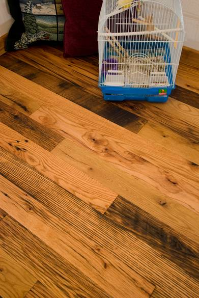 Antique Oak Skip-Planed Flooring / Roughly 30% skipped and 70% smooth (note the distress checking)