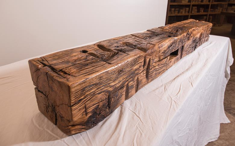 Hand-Hewn Finished Mantel - Oak; sanded; tung oil + linseed oil + gloss polyurethane finish