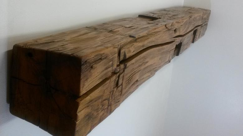 Hand-Hewn Finished Mantel - Elm characteristics; sanded; tung oil+linseed oil+gloss polyurethane finish