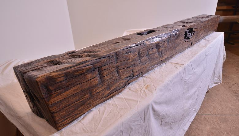 Hand-Hewn Finished Mantel - Oak; sanded; tung oil   semi-gloss polyurethane finish