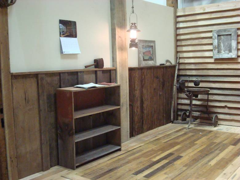 Red Painted Barnwood Bookshelf, Barnwood Wanescot / Greenheart Flooring.  Photoset #1076   Indianapolis Home And Garden Show / 30x40 Trade ...