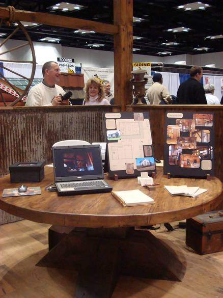 Photo 9229 Oak Table And Corregated Metal Red Barnwood