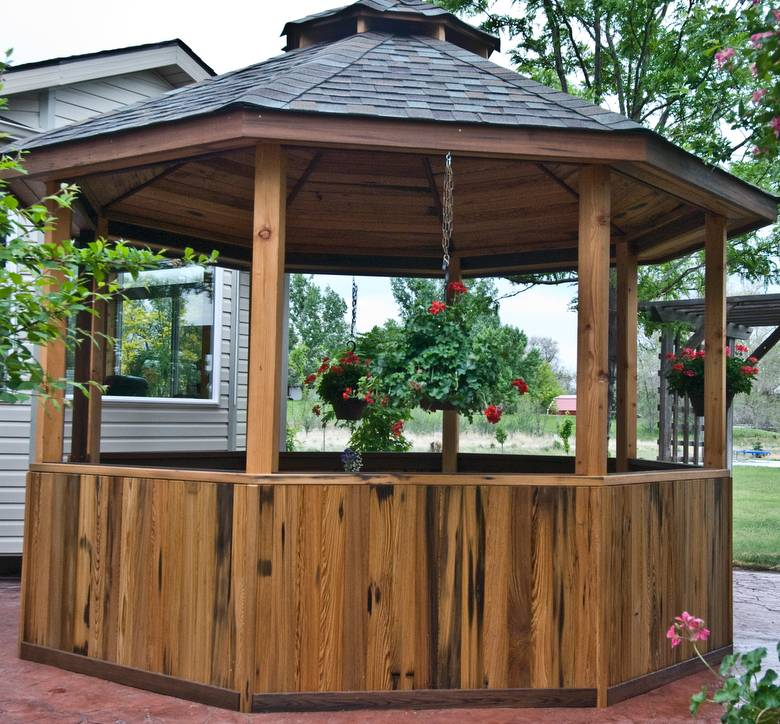 Gazebo / Cypress panel/ceiling, df posts, and redwood trim
