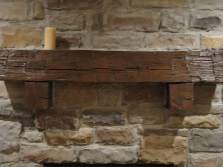 Photo 11742 Hand Hewn Oak Mantel With Hand Hewn Corbels