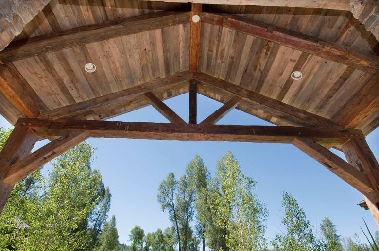 Hewn Truss and Barnwood Ceiling