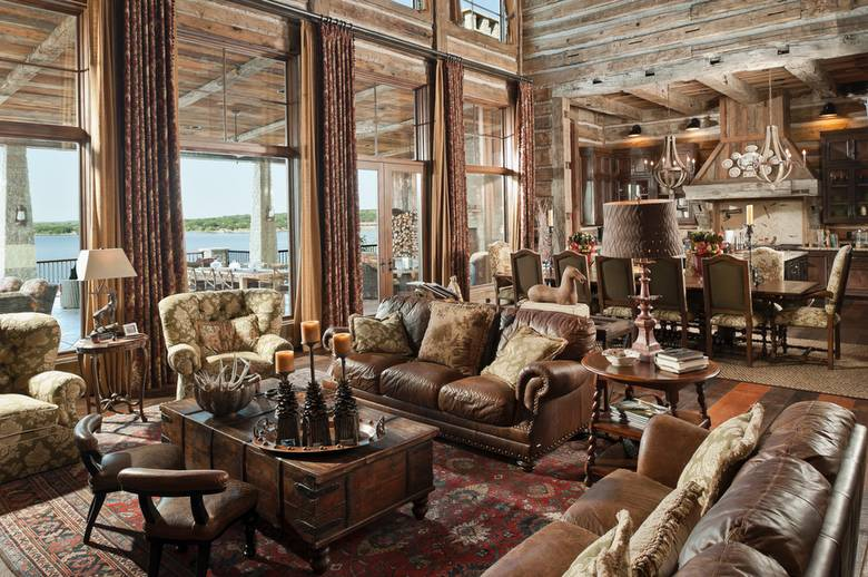 Photo 16060 lake house living room with hh skins for Texas decorations for the home