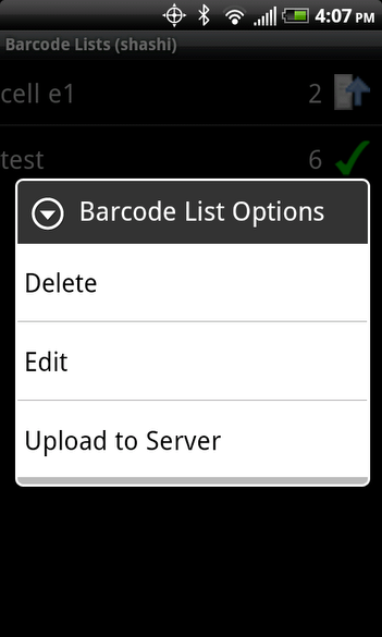 Barcode List Options