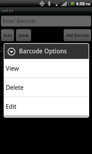 Barcode options (in a barcode list)