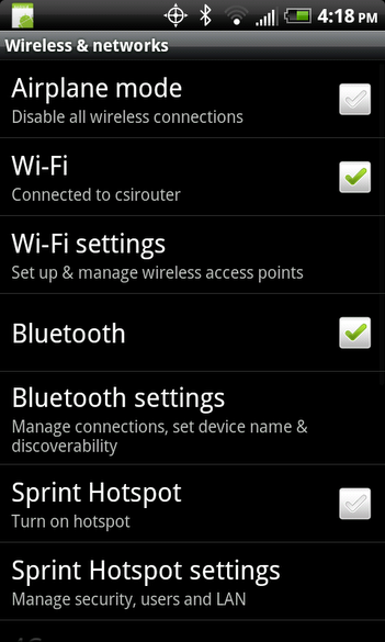 Android - Wireless and networks screen