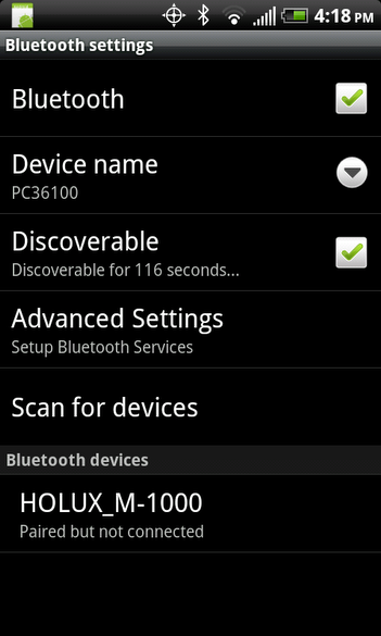Android - Bluetooth settings screen