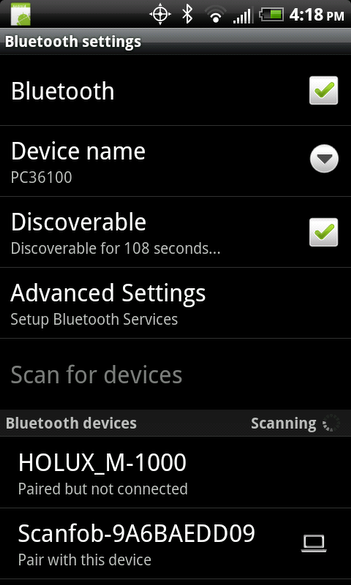 Android Bluetooth settings screen - scanning for bluetooth devices