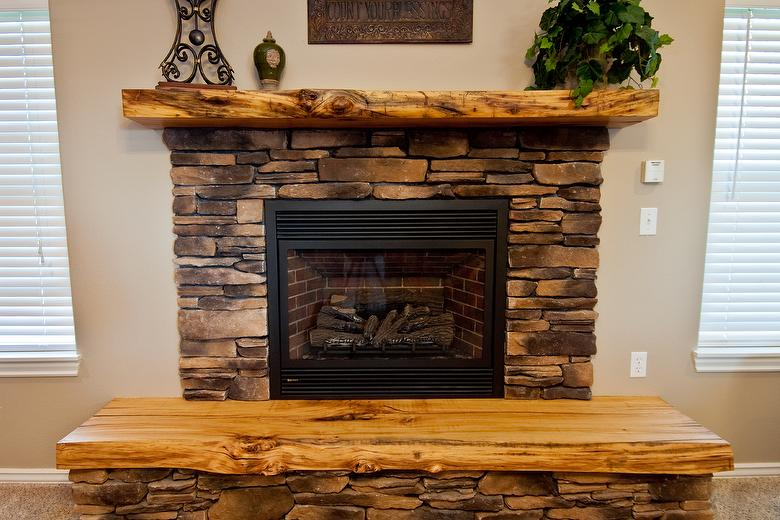 Photo 36085 Reclaimed Hardwood With Live Edge Mantel And Fireplace Hearth
