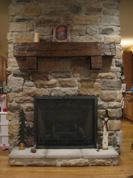 Photo 37192 Hand Hewn Oak Mantel with Hand Hewn Corbels