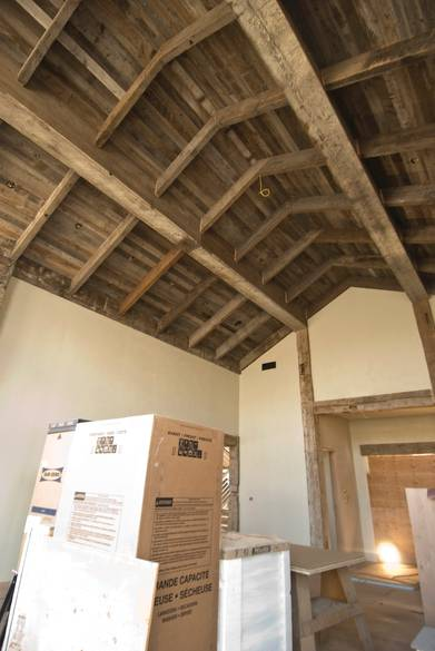 Hand-Hewn Timbers and Gray Barnwood Ceiling / Hand-Hewn Timbers and Interior Barnwood Ceiling