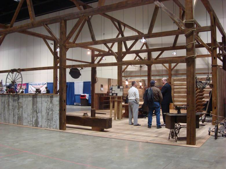 Photo Camp Barn Frame Antique Pine Roughsawn Beams - Home and garden show indianapolis