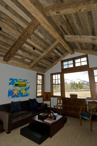 Hand-Hewn Timbers and Barnwood Ceiling